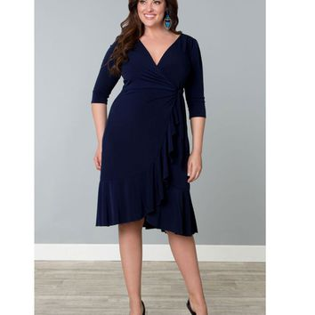 Plus Size Navy Blue Whimsy Wrap Dress