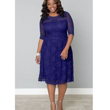 Plus Size Ultraviolet Blue Scalloped Luna Lace Dress - Plus Size - Clothing