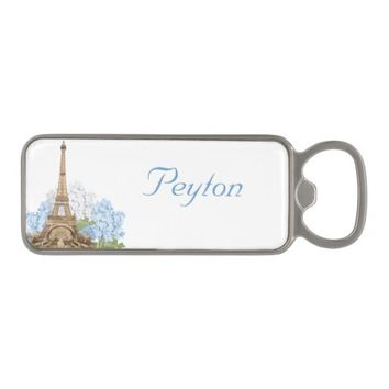 Paris Vintage Blue Hydrangea Bottle Opener