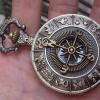 Zodiac compass Pocket Watch Necklace Big by sweethearteverybody