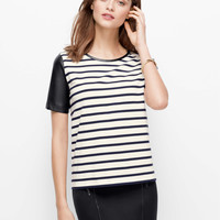 Leather Sleeved Striped Top