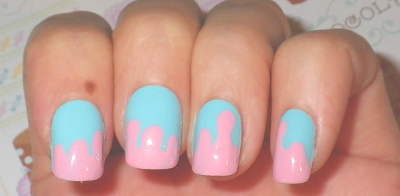 Nail Art Cotton Candy Sugar Bubblegum Drippy by NailKandy on Etsy
