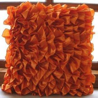 Amazon.com: Vintage Orange - 12x12 Inches Throw Pillow Covers - Satin Pillow Cover with Orange Satin Ruffles: Furniture & Decor