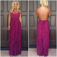Evening in Paris Maxi Dress - BURGUNDY