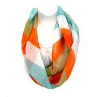 Multi Color Chevron Print Infinity Scarf