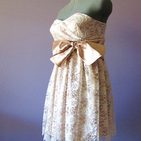 Toffey   strapless lace dress by HiddenRoom on Etsy
