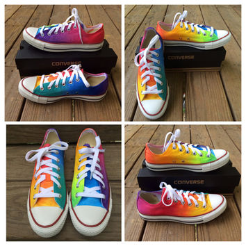 Custom Hand Painted Rainbow LOW TOP Converse Tie Dye Toms Rainbow Toms Tie Dye Ombre Lo Top Converse Shoes