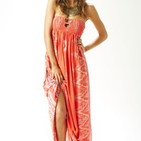 SMOCK BANDEAU MAXI DRESS