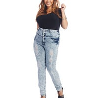 High Waisted Acid Wash Skinny Jeans | Wet Seal