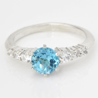 Christmas In July December Birthstone Ring - Gemstone Ring - Round Gemstone Ring - Blue Topaz Ring - Topaz Jewelry - Swiss Blue Topaz