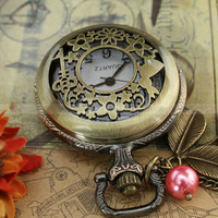 Pocket watch necklace with rabbit  flower  star  key by mosnos