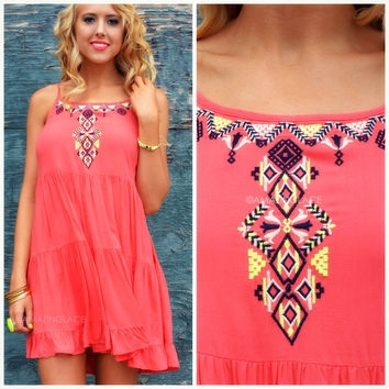Rio Caliente Coral Embroidered Dress