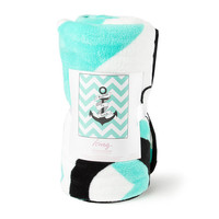I Refuse to Sink Anchor and Mint Chevron Stripe Throw Blanket