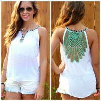 Neptune Mint Crochet Back Sleeveless Top