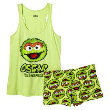 Sesame Street Juniors' Tank/Short Pajama Set - Oscar Green