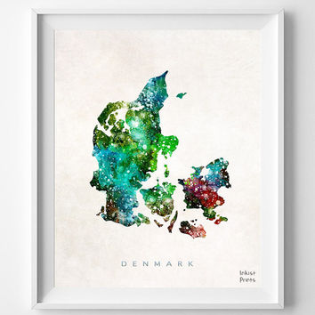 Denmark Map, Watercolor, Copenhagen, Danish, Europe, Home Town, Poster, Gift, Country, Nursery, Decor, Painting, Bedroom [ SHIP WORLDWIDE ]
