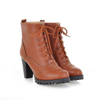 Women fashion comfortable tasteful ankle boots shoelace emboss shoes Z-HR-H11-Lovelyshoes.net