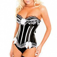 discount Beautiful Black and White Lace Corset at dressilyme.com
