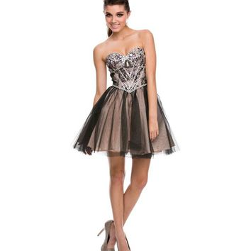 Black & Nude Rhinestone & Lace Strapless Dress Homecoming 2014