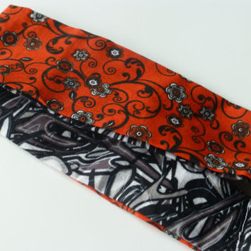 Women's Reversible Headband - Burnt Orange Headband - Black Fabric Headband - Funky Print Headband - Floral Print Headband -