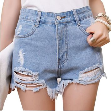 Nsstar Women's Punk Rock Vintage Grunge Hole Mid Waist Ripped Denim Short