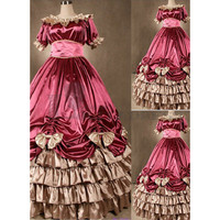 Buy Short Sleeves Multi-Layer Ruffles Bowknot Floor-lenth Gothic Victorian Dress [TQL120427003] - £74.59 :