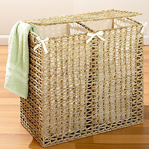 Seagrass divided hamper natural from cost plus world market - Divided laundry hampers ...