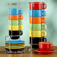 Multicolor Stacking Mugs or Espresso Cups Sets of 6 | Tea Time | World Market