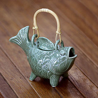 "Novica ""Lucky Koi"" Ceramic Teapot 