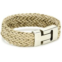 Streets Ahead Silver Closures with Natural Woven Cuff Bracelet