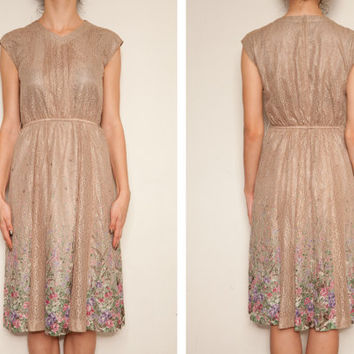 Vintage 1950's Italian Lace Floral tan dress