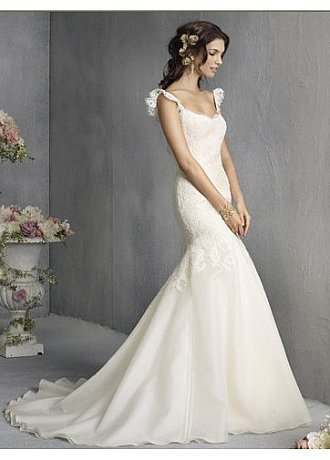 Buy discount Slinky Organza Frill Strappy Fishtail Wedding Dress at dressilyme.com