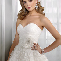 Short & Mini Strapless Sweep Satin Lace Wedding Dress