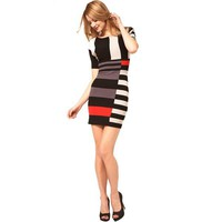 Bqueen Mixed Stripe Knit Dress Cream/ Multi K280E - Designer Shoes|Bqueenshoes.com