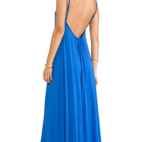 Bobi Low Back Maxi Dress in Blue