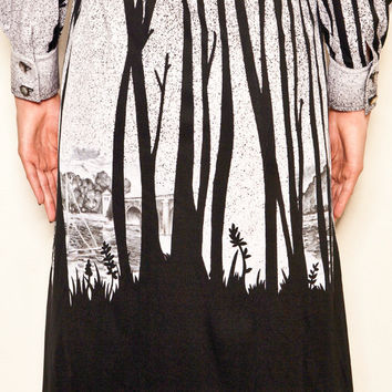 Original Vintage French Forest print black and silver dress
