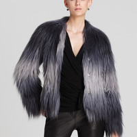 Rachel Zoe Gray Jacket Brooklyn Raglan Faux Fur