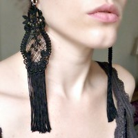 Victorian Gypsy Black Lace Earrings - Vintage Style Fringe Duster Earrings | Luulla