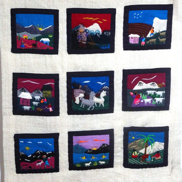 Vintage Central or South American Themed Hand Embroidered Wall Hanging Art Piece with 9 Pockets - 19 x 21 Inches - 3D Hand Sewn