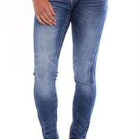 Reign Medium Blast Skinny Jean with Feather Stitch Embroidery