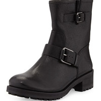 Chrystie Leather Double-Buckle Boot, Black