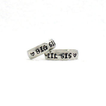 Custom Ring, Big Sis and Lil Sis  Ring, Stainless Steel Ring, Personalized Ring, Custom Name Ring, Hand Stamped Ring, Hand Stamped Ring