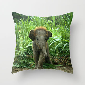 Cute Elephant Baby Throw Pillow by Erika Kaisersot