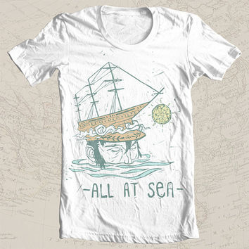 All at Sea | Screen Printed Tee Limited Run | captain sailor