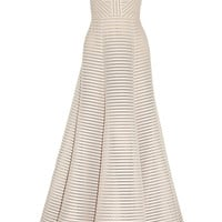 Elie Saab | Striped honeycomb-mesh and brushed-satin gown | NET-A-PORTER.COM