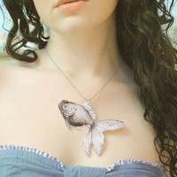 GOLDFISH Necklace Large Pendant by UniqueArtPendants on Etsy