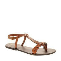 ASOS | ASOS FOUND Leather Toe Post Plait Flat Sandal at ASOS