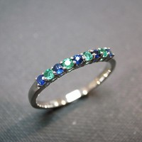 Blue Sapphire And Emerald Wedding Ring In 14 White Gold | Luulla