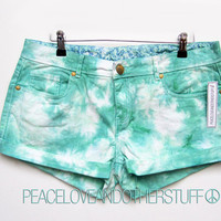 Hipster Low Rise GREEN Tie Dye shorts by peaceloveandotherstuff