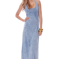 Low Dye Racerback Maxi Dress in Denim Blue :: tobi